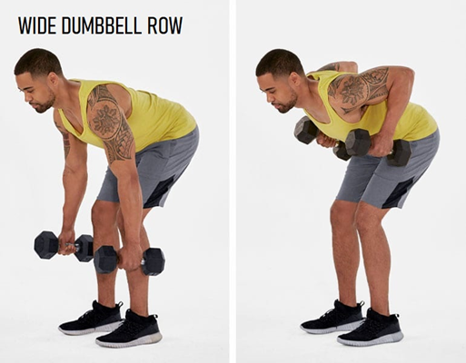 Wide dumbbell row